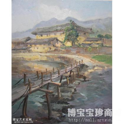 > 朱南松 小桥流水 类别: 风景油画